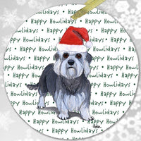 "Dandie Dinmont Terrier ""Happy Howlidays"" Ornament"