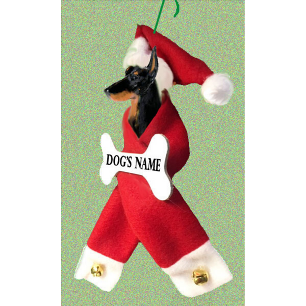 Doberman Pinscher Santa Bone Ornament