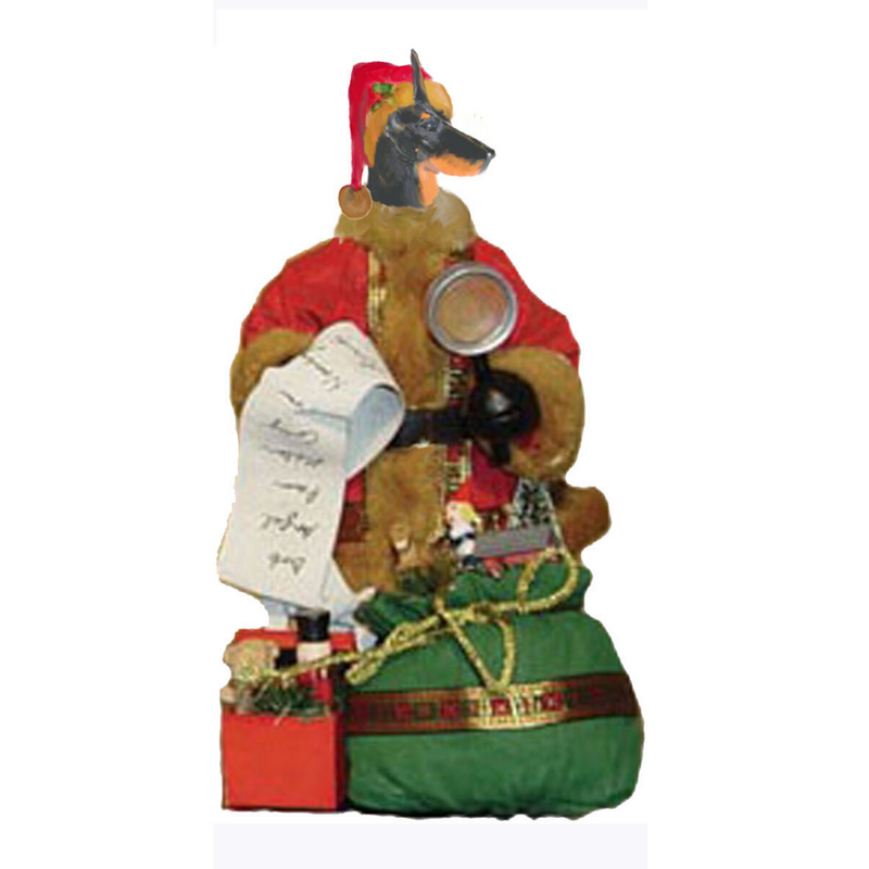 Doberman Pinscher Toy List Santa Statue
