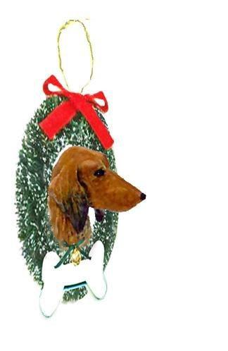Dachshund, Longhaired, Wreath and Bone Ornament