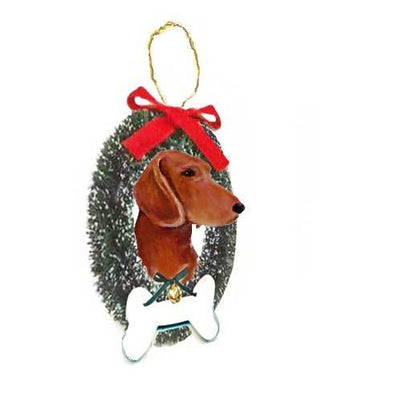 Dachshund, Smooth, Wreath and Bone Ornament