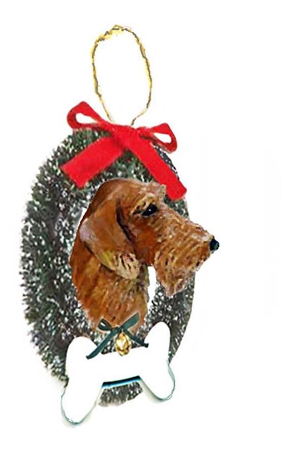 Dachshund, Wirehaired, Wreath and Bone Ornament