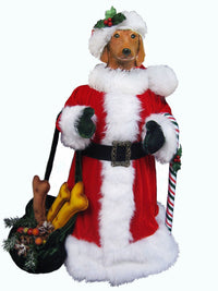 Dachshund, Smooth, Large Santa Statue