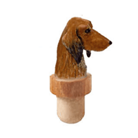 Longhaired Dachshund Head Cork Bottle Stopper
