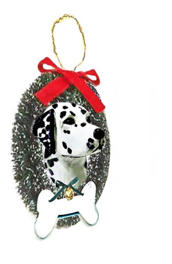 Dalmatian Wreath and Bone Ornament