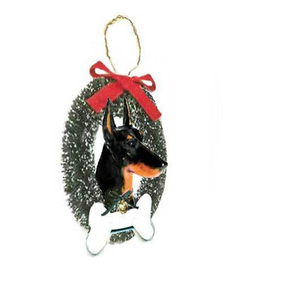 Doberman Wreath and Bone Ornament