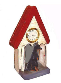 Doberman Figurine Clock