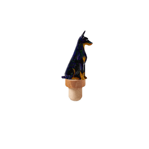 Doberman Pinscher Figurine Cork Bottle Stopper