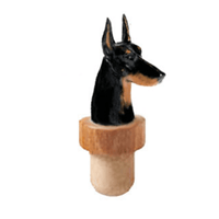 Doberman Head Cork Bottle Stopper