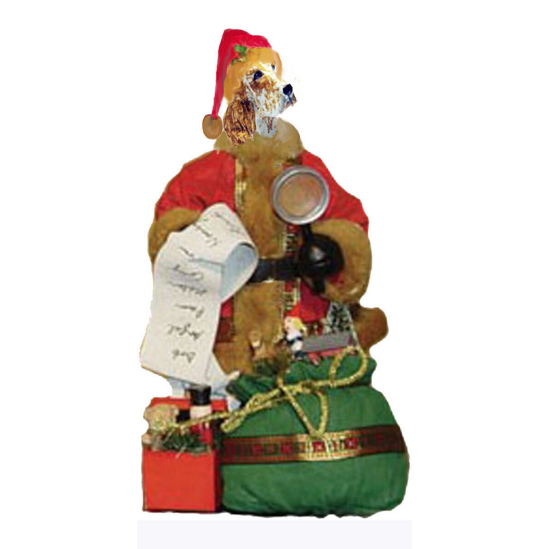 English Setter Toy List Santa Statue