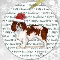 "English Toy Spaniel, Blenheim ""Happy Howlidays"" Ornament"