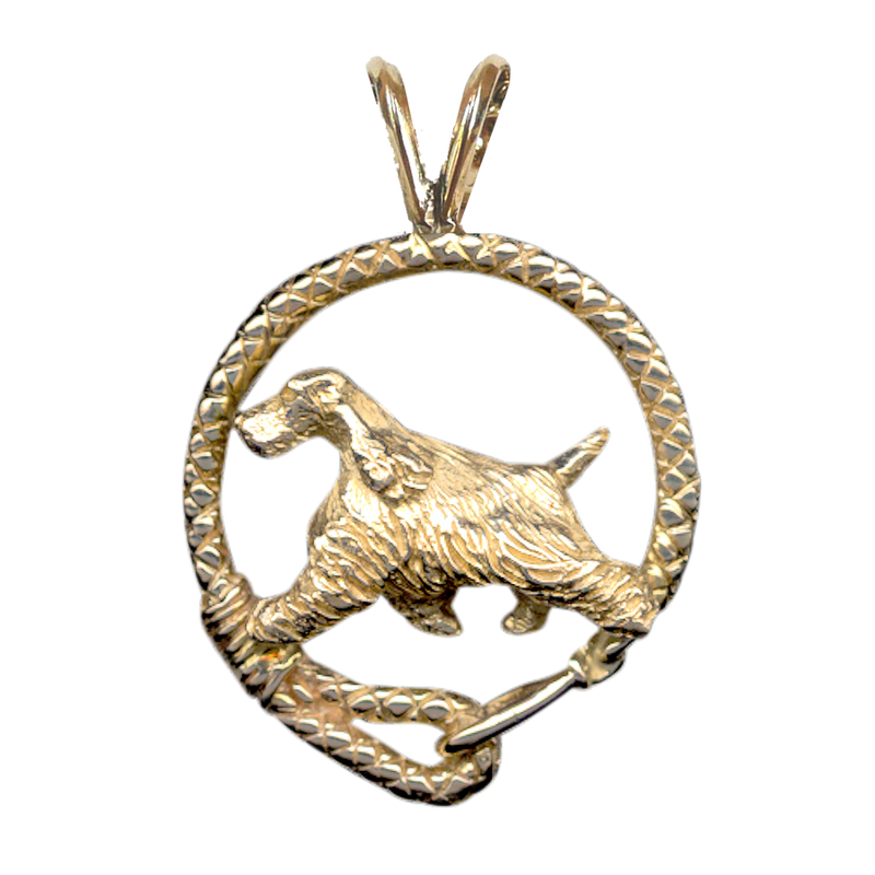 Solid 14K Gold English Cocker Spaniel Leash Pendant