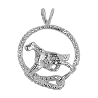 English Setter in Solid Sterling Silver Leash Pendant