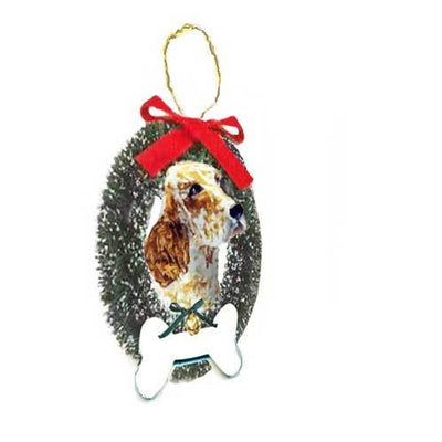 English Setter Wreath and Bone Ornament