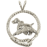 English Springer Spaniel in Solid Sterling Silver Leash Pendant