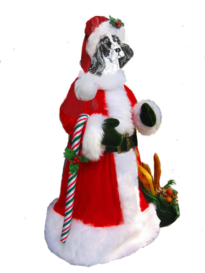 English Cocker Spaniel Large Santa Statue