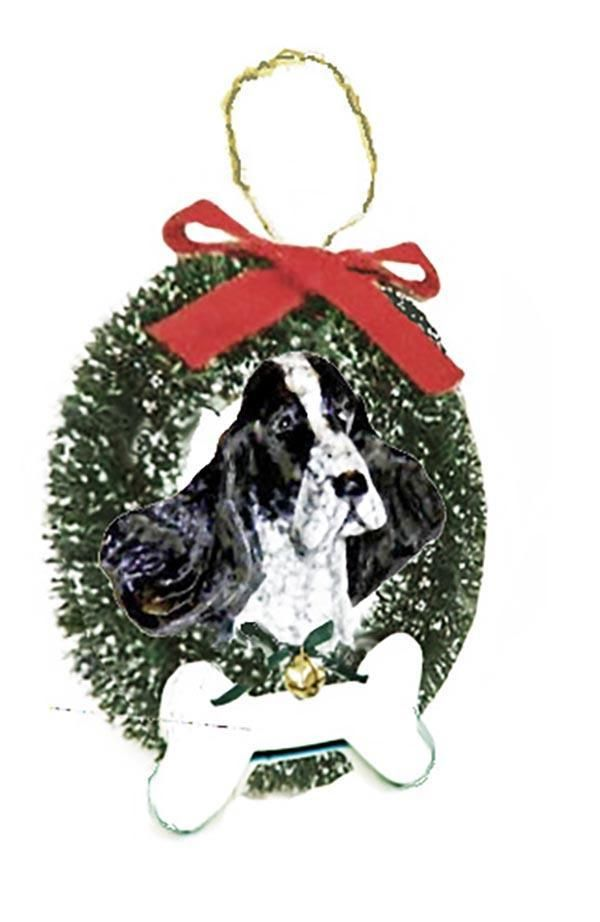 English Cocker Spaniel Wreath and Bone Ornament