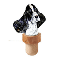 English Cocker Spaniel Head Cork Bottle Stopper