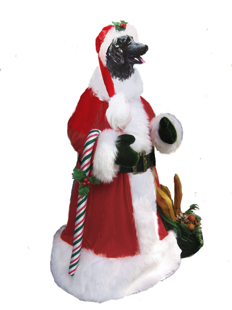 Flat-Coated Retriever Santa Statue
