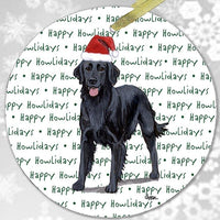 "Flat Coated Retriever ""Happy Howlidays"" Ornament"