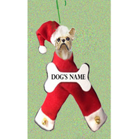 French Bulldog Santa Bone Ornament