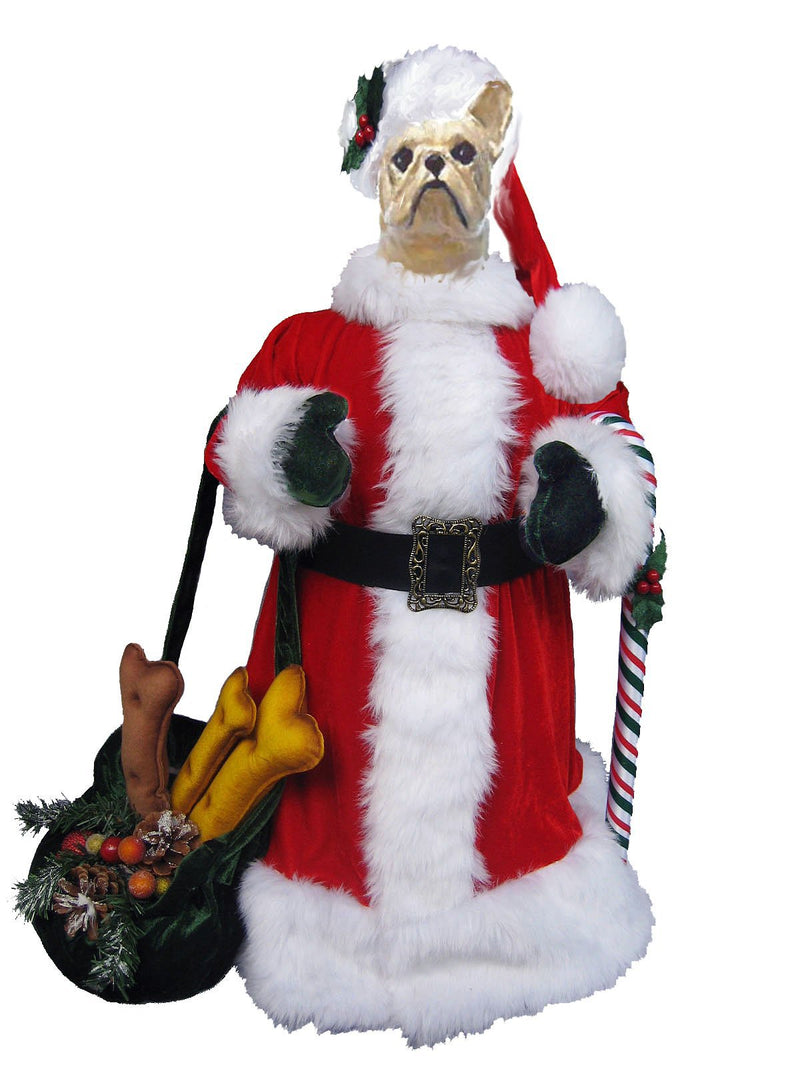 French Bulldog Santa Statue