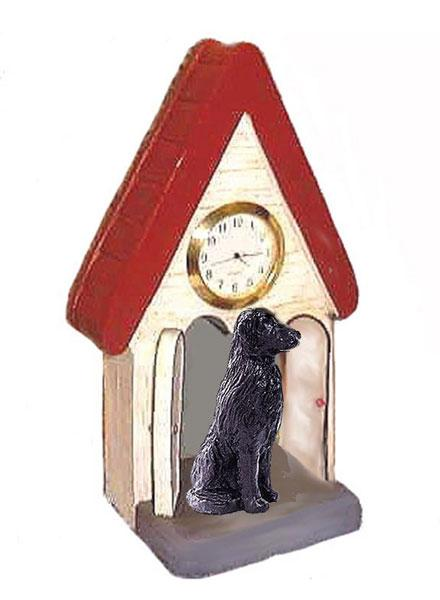Flat-Coated Retriever Figurine Clock