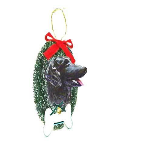 Flat-Coated Retriever Wreath and Bone Ornament