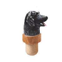 Flat-Coated Retriever Head Cork Bottle Stopper