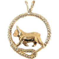 Solid 14K Gold French Bulldog Leash Pendant