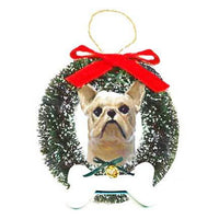 French Bulldog Wreath and Bone Ornament