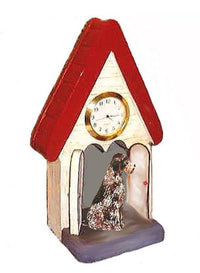 German Wirehaired Pointer Figurine Clock