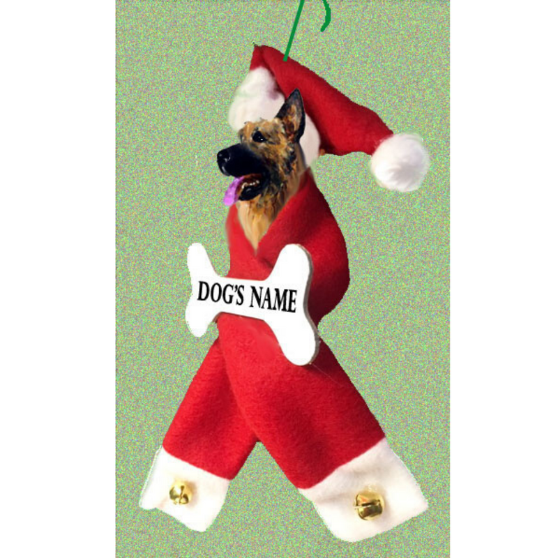 German Shepherd Dog Santa Bone Ornament