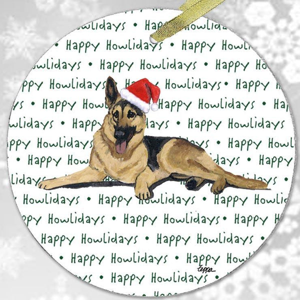 "German Shepherd Dog ""Happy Howlidays"" Ornament"
