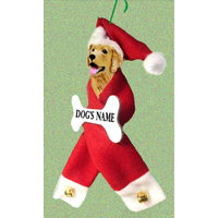 Golden Retriever Santa Bone Ornament