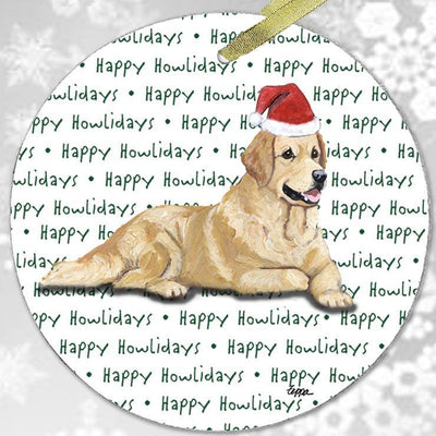 "Golden Retriever ""Happy Howlidays"" Ornament"