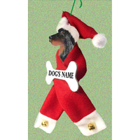 Gordon Setter Santa Bone Ornament