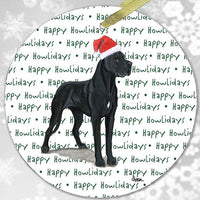 "Great Dane, Black ""Happy Howlidays"" Ornament"