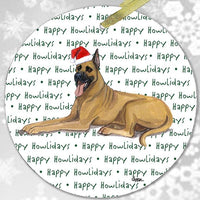 "Great Dane, Fawn ""Happy Howlidays"" Ornament"