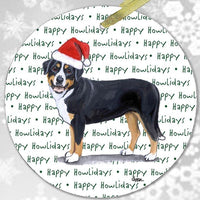 "Greater Swiss Mountain Dog ""Happy Howlidays"" Ornament"
