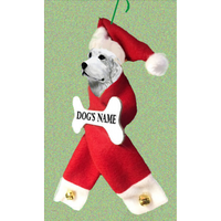 Great Pyrenees Santa Bone Ornament