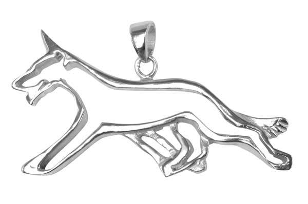 German Shepherd Dog Sterling Silver Cut Out Pendants