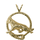 Solid 14K Gold German Shepherd Leash Pendant