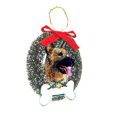 German Shepherd Dog Wreath and Bone Ornament
