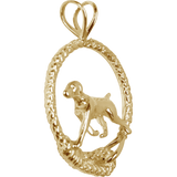 Solid 14K Gold German Shorthaired Pointer Leash Pendant