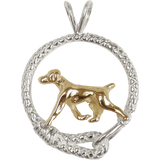 Solid 14K Gold German Shorthaired Pointer in Sterling Silver Leash Pendant