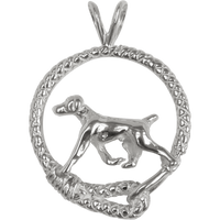 German Shorthaired Pointer in Solid Sterling Silver Leash Pendant