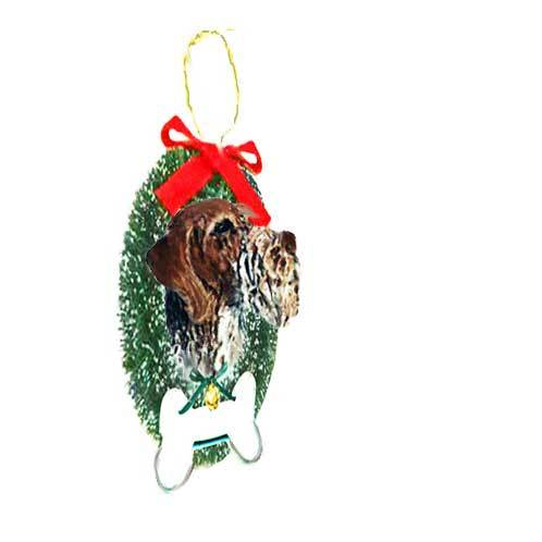 German Wirehaired Pointer Wreath and Bone Ornament