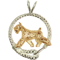 Solid 14K Gold Giant Schnauzer in Sterling Silver Leash Pendant