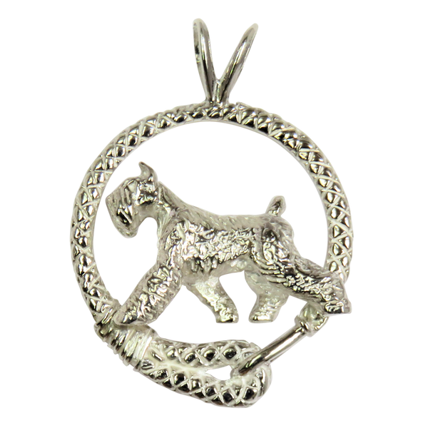 Giant Schnauzer in Solid Sterling Silver Leash Pendant